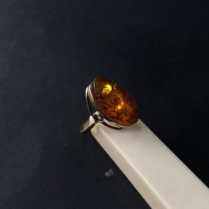 8084欧洲回流俄罗斯银鎏金琥珀戒指