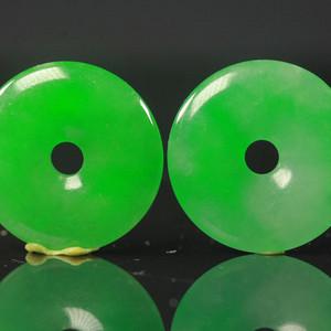 冰种满绿平安扣吊坠两个