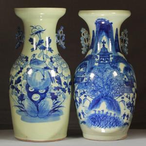清道光150件青花瓶两个