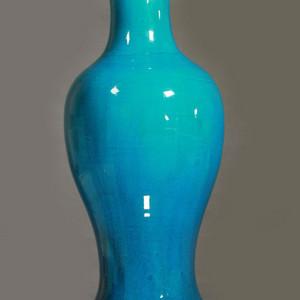 孔雀蓝釉观音大瓶 45公分高