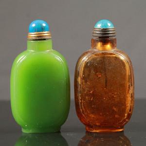 精品 清代料器鼻烟壶两个
