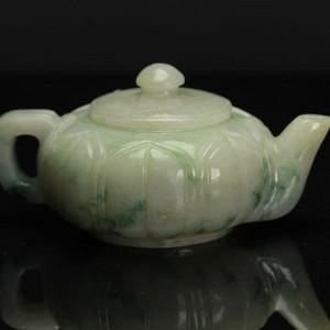 A货翡翠冰糯种飘花茶壶