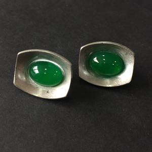 8106欧洲回流绿琉璃带设计师款耳夹一对