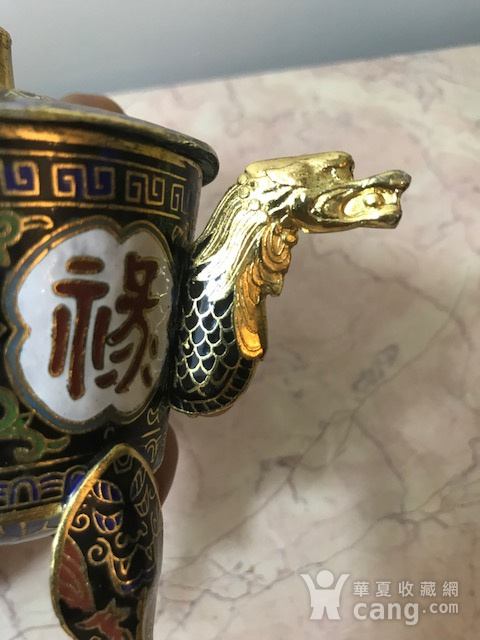7038 铜鎏金掐丝珐琅三足龙耳香薰图4