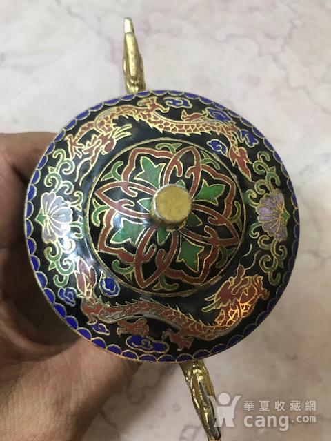 7038 铜鎏金掐丝珐琅三足龙耳香薰图7