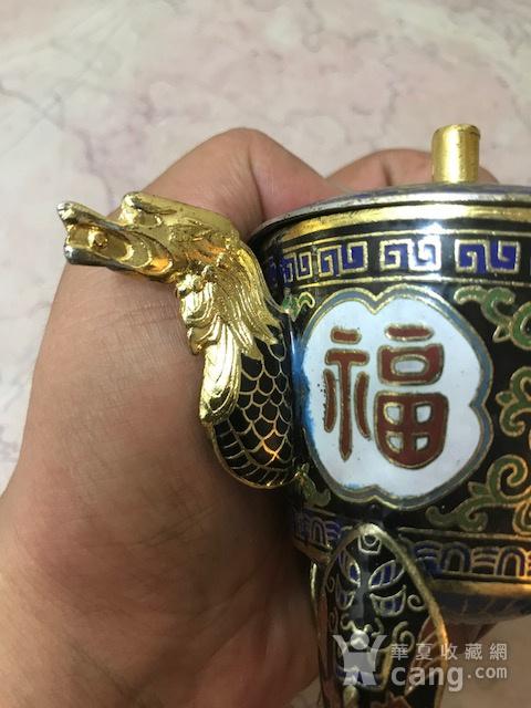 7038 铜鎏金掐丝珐琅三足龙耳香薰图5