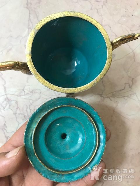 7038 铜鎏金掐丝珐琅三足龙耳香薰图10