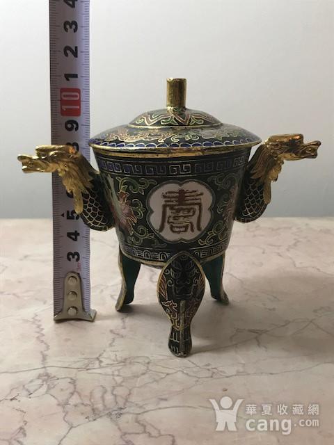 7038 铜鎏金掐丝珐琅三足龙耳香薰图12