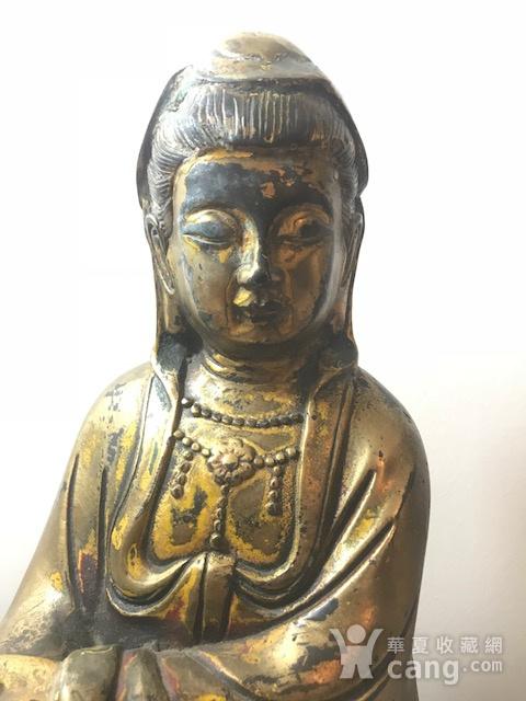 7040 民国铜鎏金观音像图2