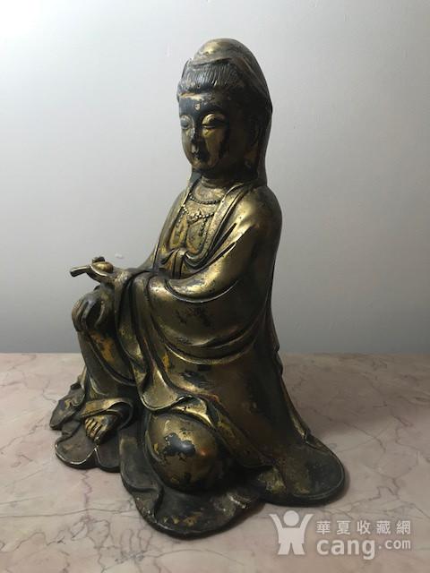 7040 民国铜鎏金观音像图5