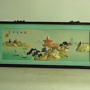 贝壳风景画挂镜