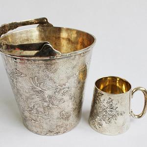 晚清民国 银龙纹桶 杯