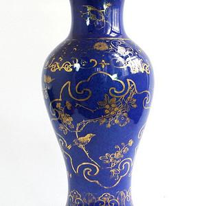 精品 清 洒蓝釉描金瓶