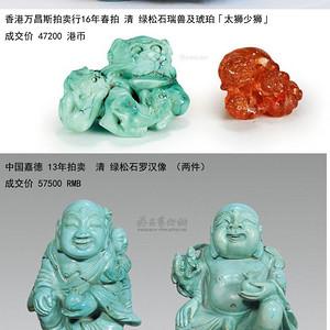 顶级 清 绿松石雕狮子摆件
