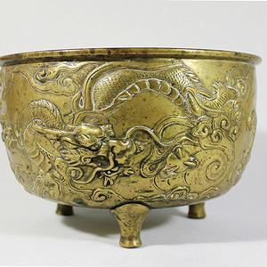 重器 16 17世纪 铜鎏金龙纹香炉