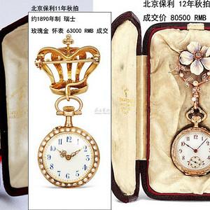 重器奢侈 19世纪 瑞士 14K金珐琅宝石怀表