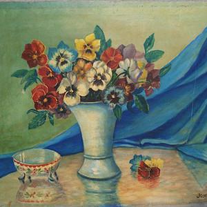 no.52 蓝布桌上的花儿和高脚小碗