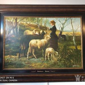山岗上的牧羊女孩 欧洲直邮