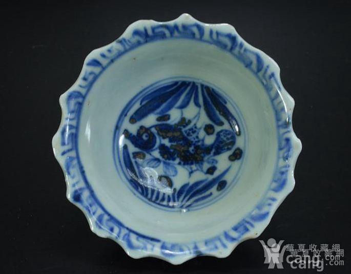 明早期青花鱼藻纹小碗图2