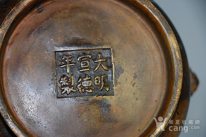 狮耳栗色老铜炉图8