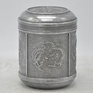 铸花锡器老茶叶罐