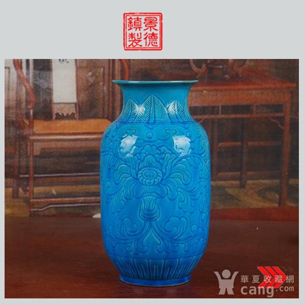 景德镇十大瓷厂老厂货瓷器 建国瓷厂法翠暗雕冬瓜瓶图1