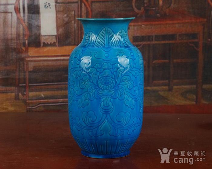 景德镇十大瓷厂老厂货瓷器 建国瓷厂法翠暗雕冬瓜瓶图4