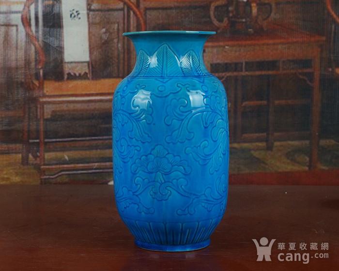 景德镇十大瓷厂老厂货瓷器 建国瓷厂法翠暗雕冬瓜瓶图5