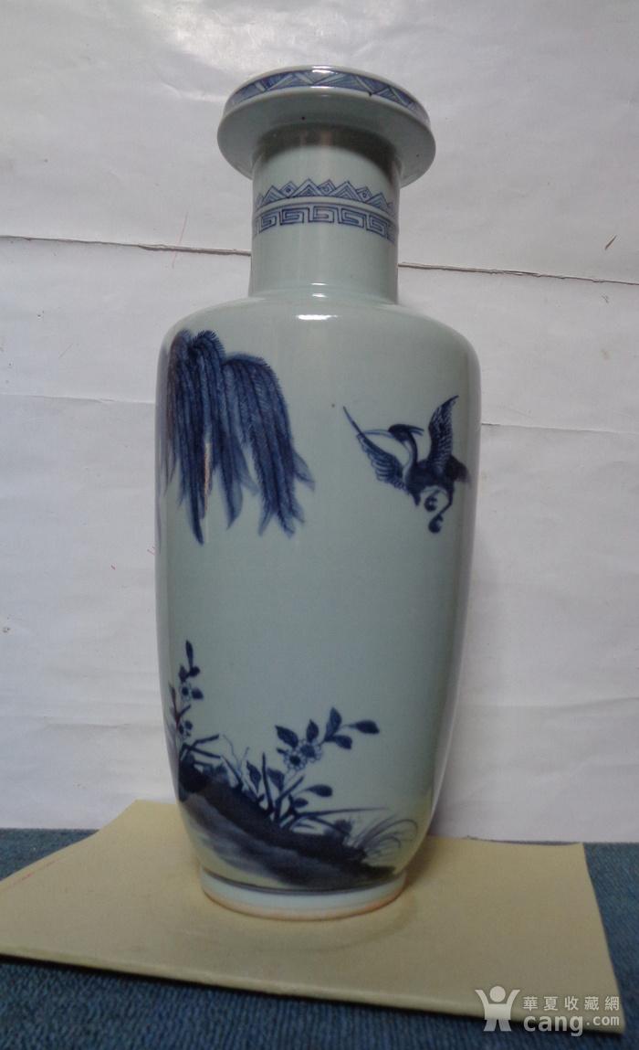 青花仙鹤纹棒追瓶