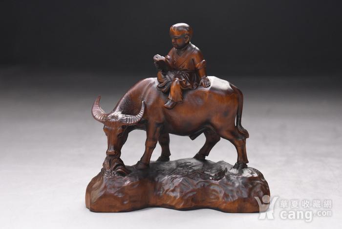 旧藏小叶黄杨木雕童子牧牛人物摆件