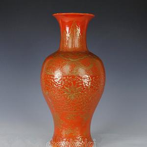 清珊瑚釉描金观音大瓶