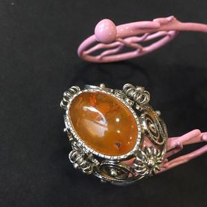 8141欧洲回流白铜镶嵌蜜蜡戒指