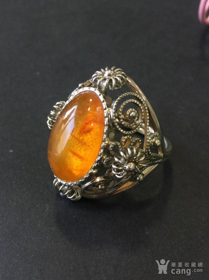 8141欧洲回流白铜镶嵌蜜蜡戒指图4