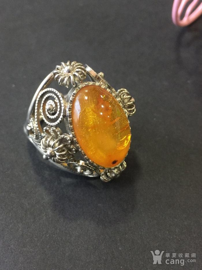 8141欧洲回流白铜镶嵌蜜蜡戒指图3