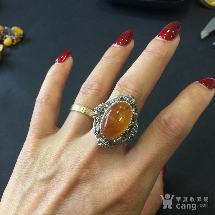 8141欧洲回流白铜镶嵌蜜蜡戒指图7