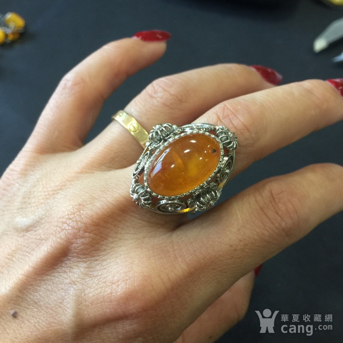 8141欧洲回流白铜镶嵌蜜蜡戒指图8