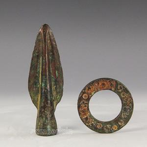 战国青铜矛青铜环