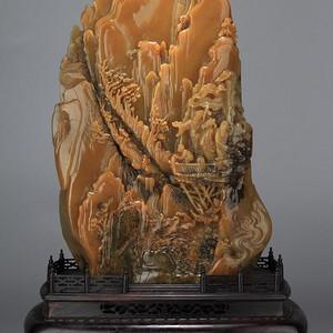重器 乌鸦皮寿山石浮雕 高山楼阁观景 图