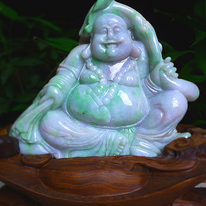 天然A货翡翠老坑水润飘绿精工笑口常开弥勒佛摆件