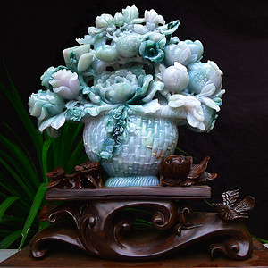 天然A货翡翠老坑水润飘花满篮富贵花开多子多福花篮摆件
