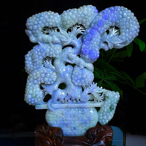 天然A货翡翠老坑水润紫罗兰精工多子多福海棠摆件