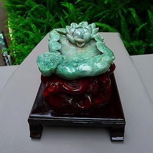 天然A货翡翠老坑水润满色豆绿和和美美荷花砚台摆件..文房四宝之一