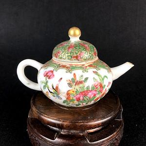 联盟 ct117晚清光绪人物花卉广彩茶壶