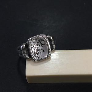 8025欧洲回流带族徽款老银戒指