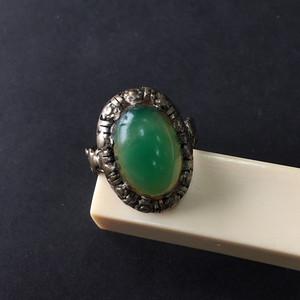 8033欧洲回流老银镶嵌绿玉髓戒指