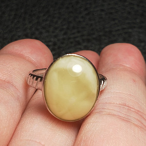 精品天然蜜蜡纯银戒指