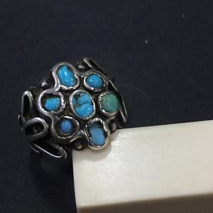 8061欧洲回流老银镶嵌绿松石戒指