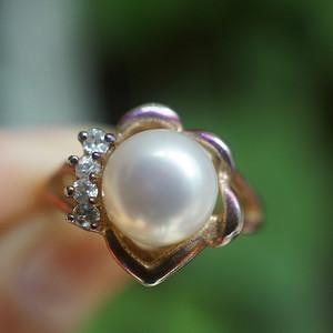 欧洲天然珍珠水钻戒指