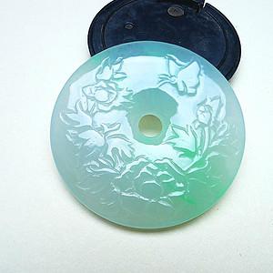 自然光实拍!天然A货翡翠老坑水润冰种飘绿花开富贵平安扣