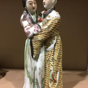 联盟 清同治粉彩雕塑人物摆件 梁山伯与祝英台